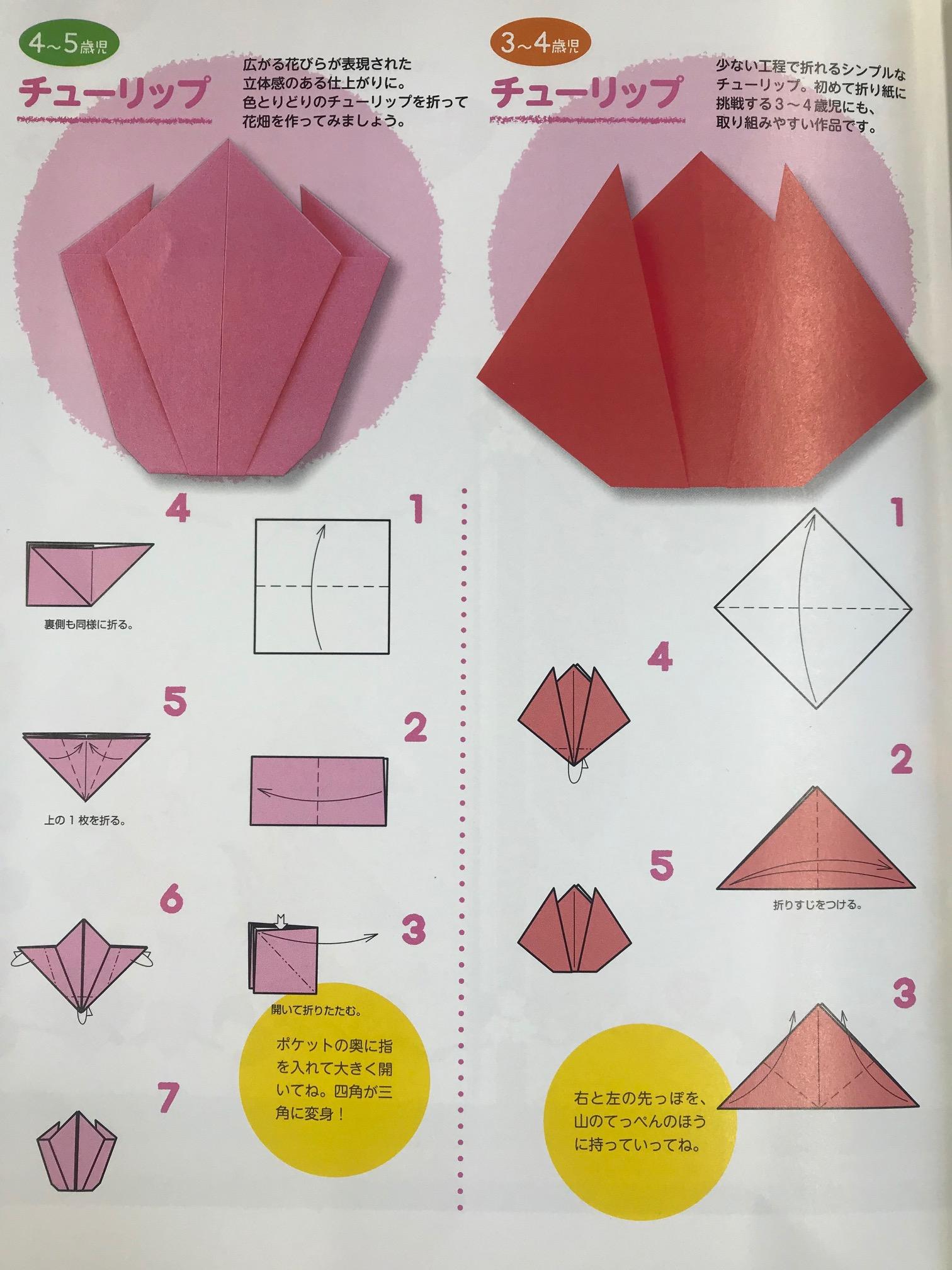 ★おうち時間★折り紙製作(ちゅーりっぷ)